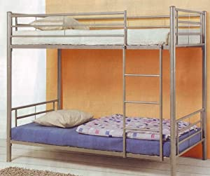 Modern Contemporary Silver Metal Twin Size Bunk Bed from Coaster