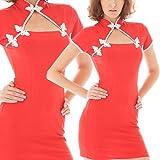■チラ見せ可愛い胸元チャイナドレスワンピース赤/bc19