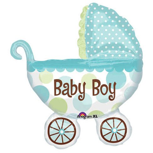Baby Boy Buggy Shower Balloon Super Shape front-834868