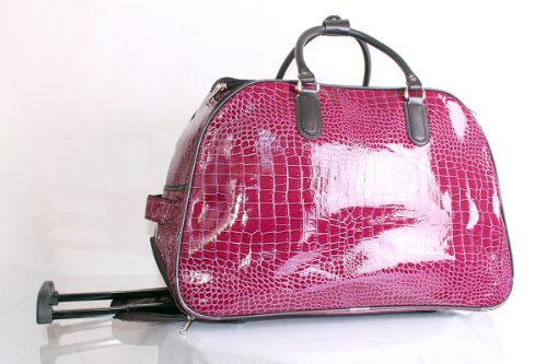 Purple Croc Ladies Luggage Travel Trolley Bag/Cabin Bag/Weekend bag