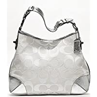 Coach Peyton Signature Sateen Metallic Shoulder Bag- White and Silver 19758