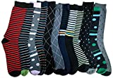 12 Pairs of excell Mens Fashion Designer Dress Socks, Cotton Blend