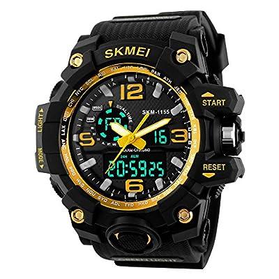BesWLZ BesWLZ Men's Large Dual Dial Analog Digital Quartz Multifunction 50M Water Resistant Watches ( Yellow)