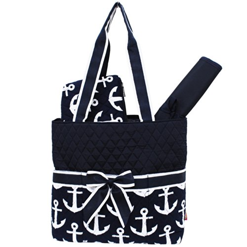 Navy & White Anchors Print 3pc. Baby New Born Diaper Bag