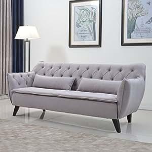 Amazon.com - Mid Century Modern Tufted Linen Fabric Sofa