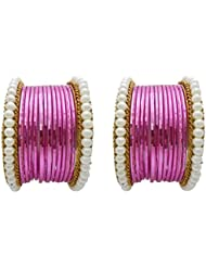 Designer Pink Pearl Bridal Bangles Set By My Design(size-2.4)