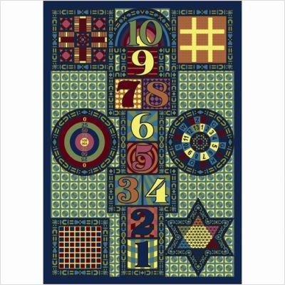 "Joy Carpets Kid Essentials Active Play & Juvenile Games Galore Rug, Multicolored, 5'4"" x 7'8"""