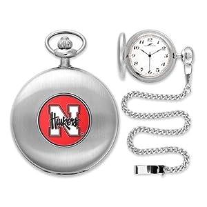 Nebraska Cornhuskers NCAA Silver Pocket Watch