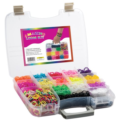 Amazing Loom Bands Kit Complete Collection Organizer Storage Kit with Handle Includes 3,600 Bands Assorted Colors +150 Clips +6 Charms with Instructions