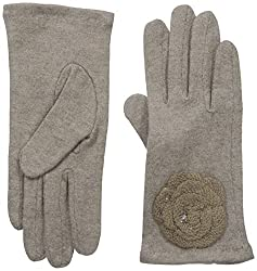 Gloves International Women's Wool Blend Gloves with Flower, Medium Brown, Large/X-Large