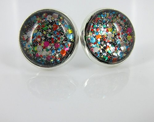 Multi Color Party Confetti Glitter Glass Stud Earrings Silver-tone 12mm (Opi Nail Polish Vintage compare prices)