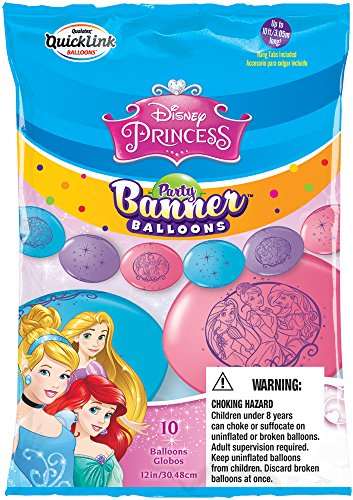 Party Banner Balloons 10 Count Disney Princess QuickLink Banner Balloons. 12-Inch