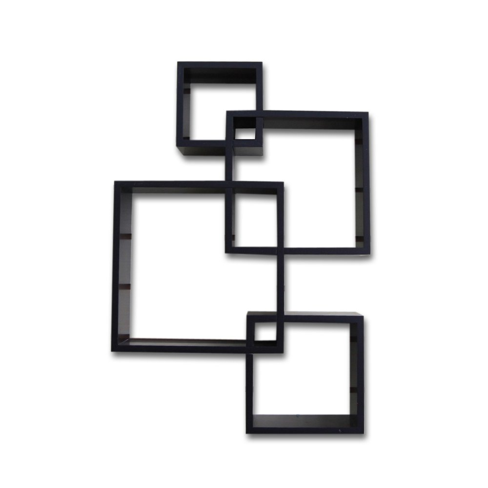 Shelving Solution Intersecting Squares Floating Shelf ,2 LED Candles Included (Espresso)