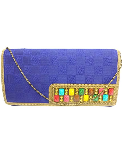 Bhamini Self Design Multi Colour Brooch Clutch (Blue)