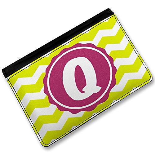Rfid Passport Holder Monogram Q Lime Green Chevron, Cover Case / Wallet - Neonblond