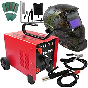 250AMP ARC Welder Portable Dual Mode 110V/220V Stick Welder+ Mossy Oak Adjustable Auto Darkening Solar Welding Helmet by ARKSEN