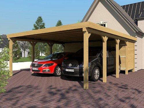 carport flachdach silverstone ix 600x800 cm mit ger teraum flachdachcarport. Black Bedroom Furniture Sets. Home Design Ideas