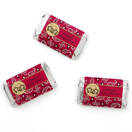 Twin Little Cowboys - Personalized Baby Shower Mini Candy Bar Wrapper Favors - 20 Ct front-703707