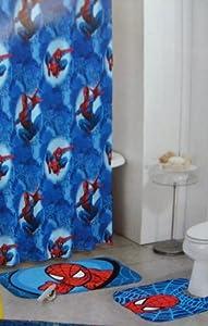 Spider-man Bath Set - Rugs Shower Curtain & Hooks