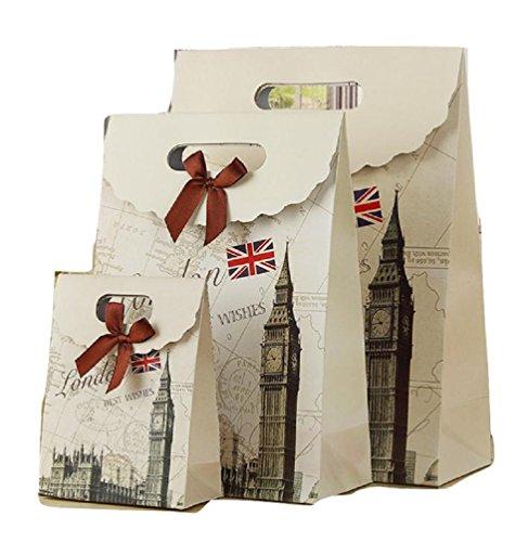 エレガント 華やか ヨーロピアン ギフトバッグ [5枚セット +メッセージ入りリボン] 選べる サイズ デザイン プレゼント ラッピング 紙袋 (L, ロンドンB)