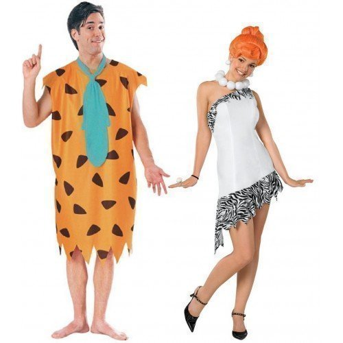 Couples Mens & Ladies 60s Fancy Dress Fred & Wilma Flinstone Costumes
