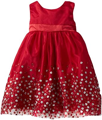 Blueberi Boulevard Baby-Girls Infant Mesh Glitter Special Occasion Dress, Red, 24 Months