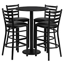 Hot Sale 30'' Round Black Table Set with 4 Black Vinyl Seat Metal Bar Stools