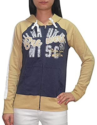 MLB MILWAUKEE BREWERS Womens Athletic Zip-Up Hoodie (Vintage Look)
