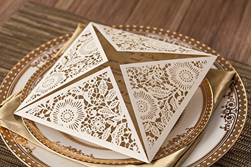 Wishmade 100x White Square Laser Cut Wedding Invitations Cards with Lace Flowers Engagement Birthday Bridal Shower Baby Shower Graduation Party Favors CW520WH 2
