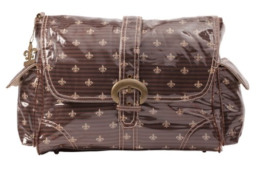 Kalencom Laminated Buckle Bag, Fleur De Lis Chocolate Cream