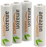 Amazonベーシック 充電式ニッケル水素電池 単3形4個パック (最小容量1900mAh、約1000回使用可能)