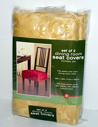 holiday joy gold set of 2 dining room chair seat covers 28in x 36in
