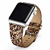 iitee (TM) Christmas Shiny Glitter Power PU Leather Bling Luxury Iwatch Band Wristwatch Bracelet Strap Belt for Apple Watch (gold 42mm) Reviews