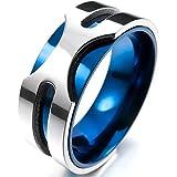 MunkiMix 8mm Stainless Steel Ring Band Silver Blue Wedding Charm Elegant Men