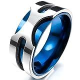 MunkiMix 8mm Acier Inoxydable Anneau Bague Argent Bleu Mariage Charme Élégant Taille 62 Homme
