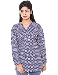 Twist Womens Top (Short Kurti) Casual Wear Party Wear Blue & White Printed 3/4th Sleeve