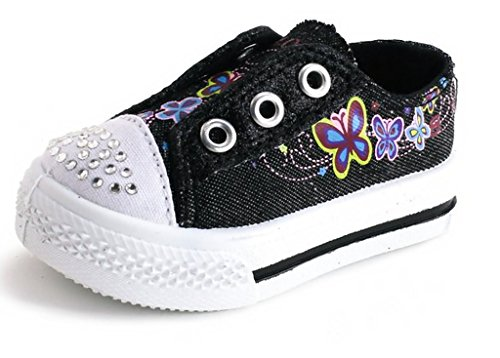Girls Kids Toddlers Casual Athletic Cute School Shoes (4, Black *Star)