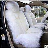 2 Stück Schaffell- Auto-Sitzbezug Lammfell Farbe Weiß Auto-FrontfahrersitzCover Car Kissen Autozubehör