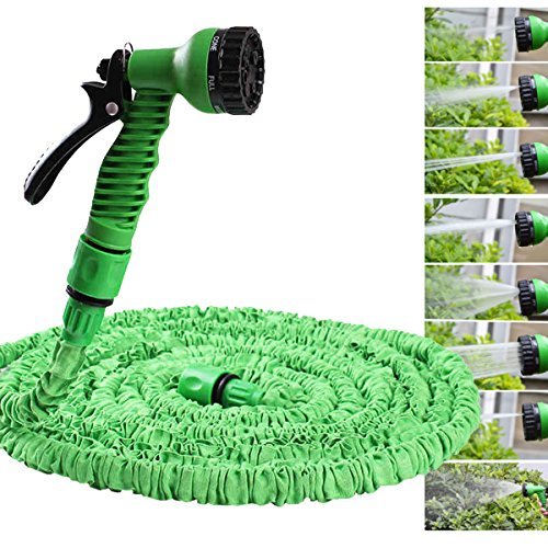 Expandable and Flexible Garden Hose 75 Foot Expanding or Collapsible Hose -green