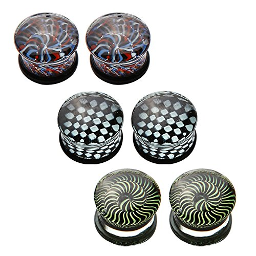 0G Saddle Glass Plugs Optical Illusions Kit (8mm) - 6 Pieces (Cool Gauges compare prices)