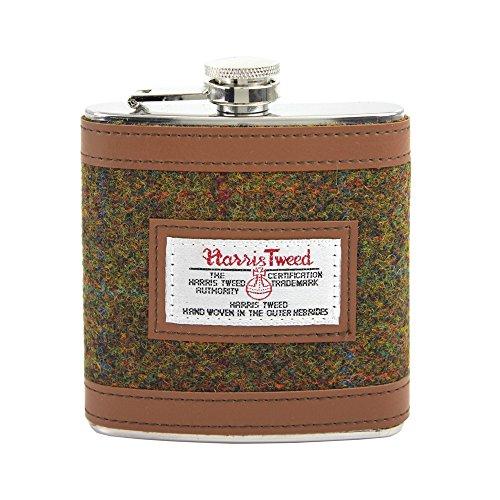 harris-tweed-green-tartan-stainless-steel-hip-flask-in-gift-package