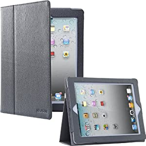 i-BLASON iPad 2 / New iPad 3 / Leather Case Stand with Smart Cover Auto On/Off (Gray)