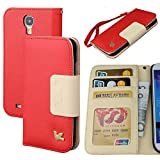 Case for Galaxy S4, By HiLDA,Wallet Case,PU Leather Case,Cut,Credit Card Holder,Flip Cover Skin,(Red)