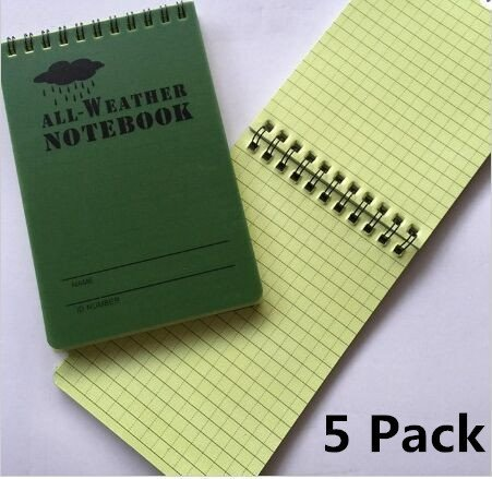 Haiker 5 Pack Small Green Tactical Waterproof All-weather /Shower /Aqua Notes /Pocket Notebook /Notepad (Size: 5 x 3 inches) (Shower Notepad compare prices)
