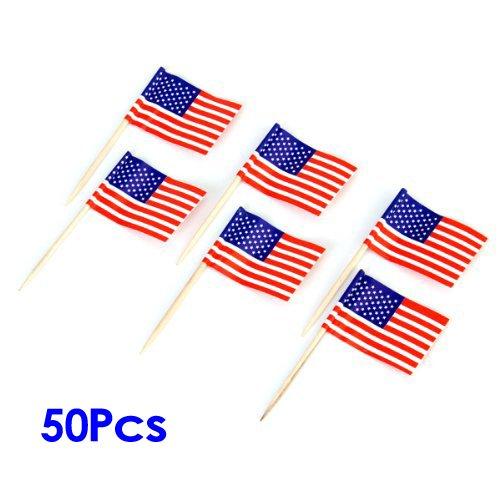 50pcs Drapeaux Américains Décoration de Gâteau Tiges pour Cupcake