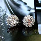 Simple fashion shiny Rhinestone Sunflower female models zircon earrings E576