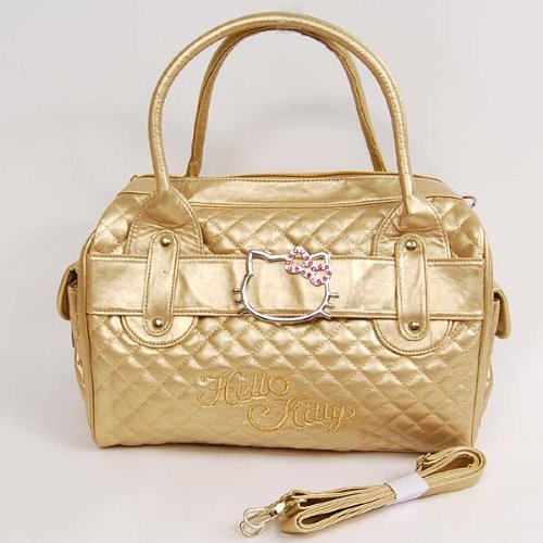 Hello Kitty Shopping Bag Handbag Tote Purse Gold
