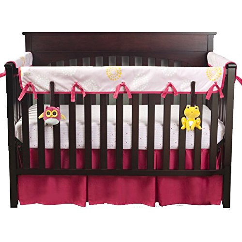 Babee Talk Eco-Teether Crib Rail Cover - 18 In. Front - Pink (With Bonus Frog and Owl Take-Along Pals)