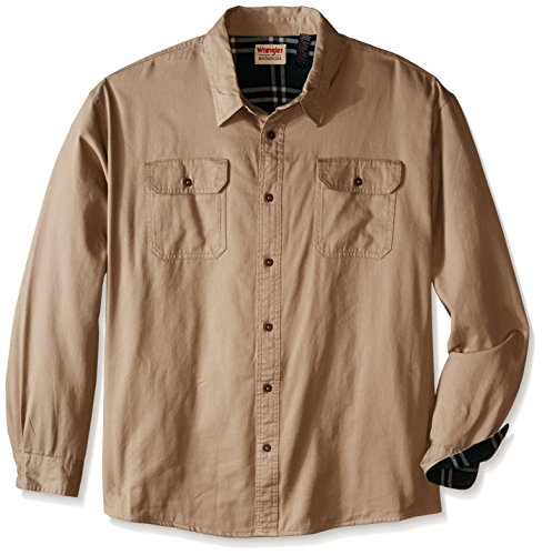Wrangler Men's Big Long Sleeve Flannel Lined Twill Shirt, Dune, XXX-Large