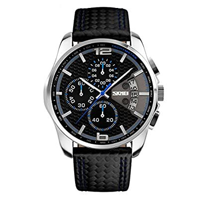 CakCity Men's Military Watches Business Waterproof and Stopwatch ,Sport Watch with Black Leather Large Dial